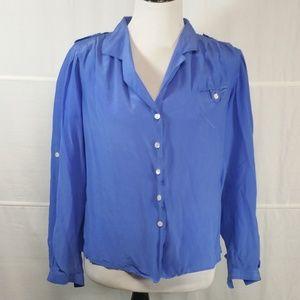 Chaus blue top button down blouse shirt